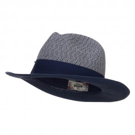 Two Tone Herringbone Panama Hat
