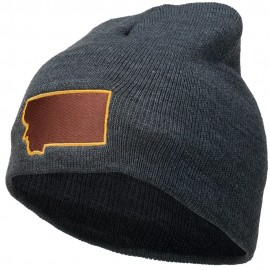 Montana State Map Embroidered Short Beanie