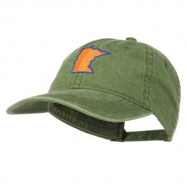 Minnesota State Map Embroidered Washed Cotton Cap - Olive Green