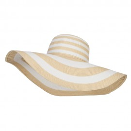 Big Brim Striped Floppy Hat