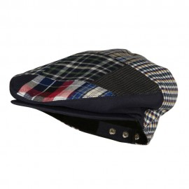Men's Patchwork Design Ivy Cap - Navy