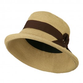 Metallic Half Bow Roll Up Hat - Natural