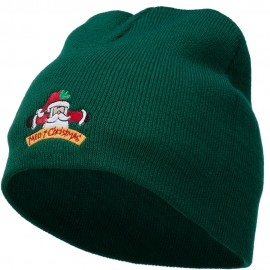 Merry Christmas Santa Claus Embroidered Short Beanie