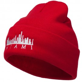 Miami Skyline Embroidered Cuffed Long Beanie