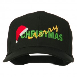Merry Christmas Santa Hat Embroidered Cap - Black