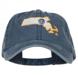 Massachusetts Map State Flag Embroidered Cap