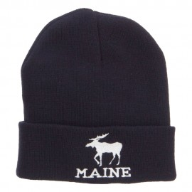 Maine State Moose Embroidered Cuff Beanie