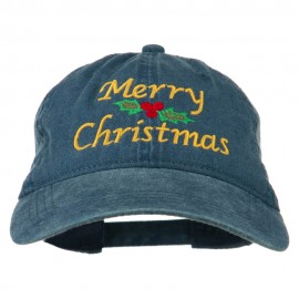 Merry Christmas Mistletoe Embroidered Washed Dyed Cap - Navy