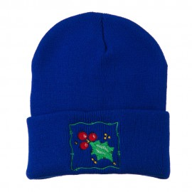 Christmas Mistletoe with Frame Embroidered Beanie - Royal