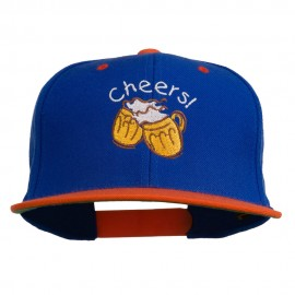 Cheers with Beer Mugs Embroidered Two Tone Snapback Cap