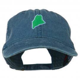 Maine State Map Embroidered Washed Cotton Cap - Navy
