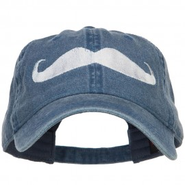 Mustache Embroidered Washed Cap