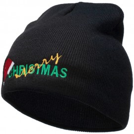 Merry Christmas Santa Hat Embroidered Short Beanie