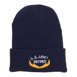 US Army Retired Emblem Embroidered Cuff Beanie