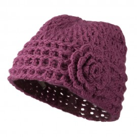 Woman's Knit Acrylic Flower Beanie