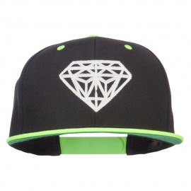 Diamond Outline Embroidered Neon Flat Bill Cap