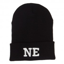 NE Nebraska State Embroidered Long Beanie