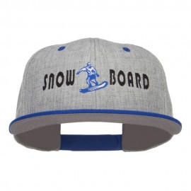 Snowboard Embroidered Heather Snapback Cap