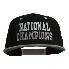 National Champions Embroidered Snapback Cap - Black Silver