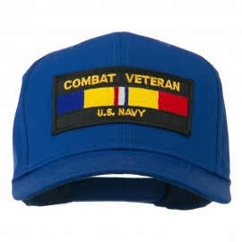 US Navy Combat Veteran Patched Cap - Royal