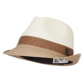 Patterned Band Paper Straw Fedora