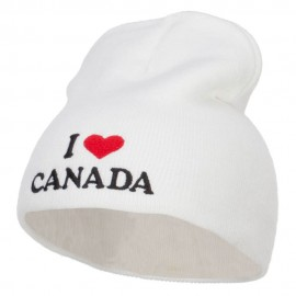 I Love Canada Embroidered Short Beanie