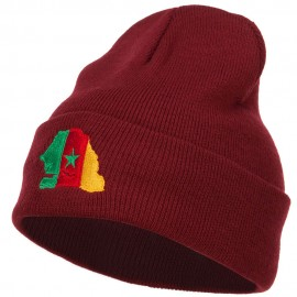Senegal Flag Map Embroidered Long Beanie