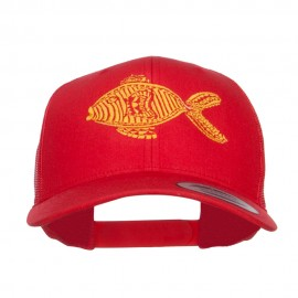 Golden Fish Embroidered Mesh Cap
