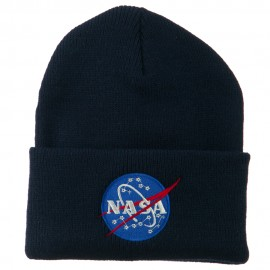 NASA Insignia Embroidered Long Beanie - Navy