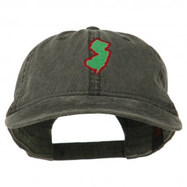 New Jersey State Map Embroidered Washed Cotton Cap