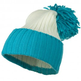 Neon Knit Hat with Pom Pom - Turquoise