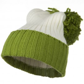 Neon Knit Hat with Pom Pom - Green