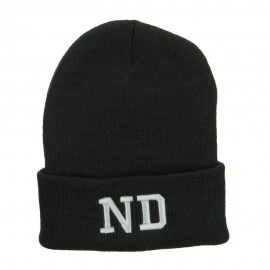 ND North Dakota Embroidered Long Beanie