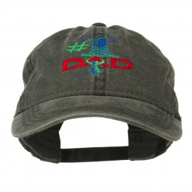 Number 1 Dad with Necktie Embroidered Washed Cap
