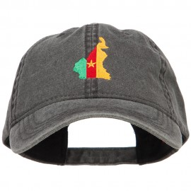 Cameroon Map Flag Embroidered Washed Cap