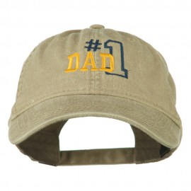 Number 1 Dad Outline Embroidered Washed Cotton Cap