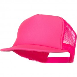 5 Panel Neon Color Poly Mesh Cap - Neon Pink