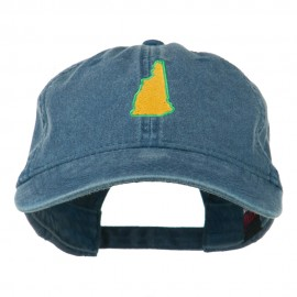 New Hampshire State Map Embroidered Washed Cotton Cap - Navy