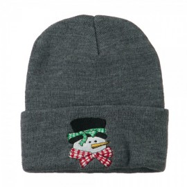 Snowman's Head with Scarf Embroidered Beanie