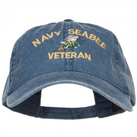 US Navy Seabee Veteran Military Embroidered Washed Cap