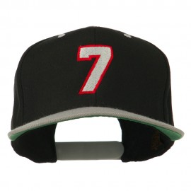 Number 7 Embroidered Classic Two Tone Snapback Cap