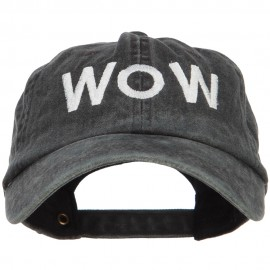 Wow Embroidered Washed Dyed Cotton Cap