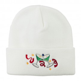 Glasses New Years Embroidered Beanie - White