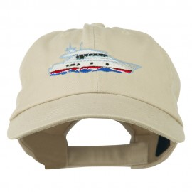 Nautical Yacht Embroidered Pet Spun Washed Cap - Stone