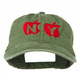 NY with Apple Image Embroidered Washed Cap
