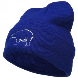 Polar Bear Outline Embroidered Long Beanie