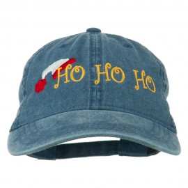 Christmas Hat Ho Ho Ho Embroidered Washed Dyed Cap - Navy