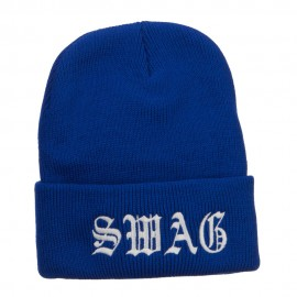 Old English Swag Embroidered Long Beanie
