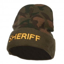 Sheriff Embroidered Camo Long Beanie
