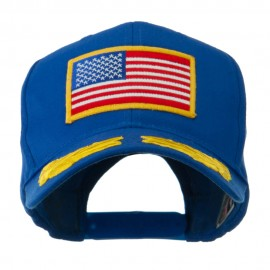 Oak Leaves and American Gold Flag Patch Cap - Royal